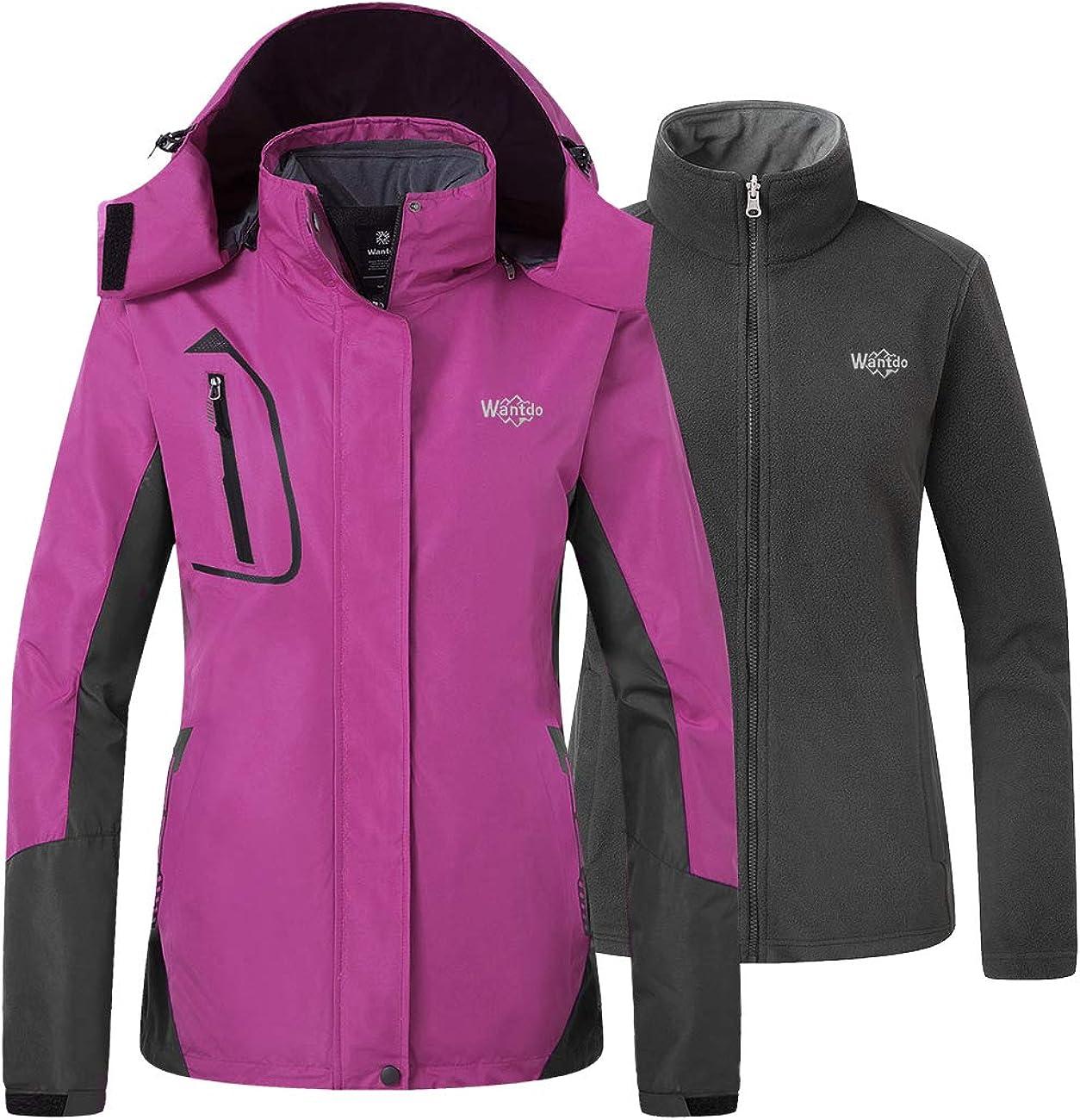 Wantdo Womens 3 in 1 Ski Jacket Waterproof Snowboarding Jacket Insulated Fleece Jacket Winter Snow Coat