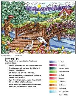 Color by Number Poster Set - Bridge - Includes 12 Coloring Pencils