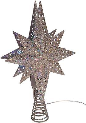 Kurt S. Adler Kurt Adler 14-Inch Projection Iron Top LED Star Treetop, Silver, Blue