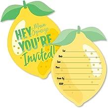 So Fresh - Lemon - Shaped Fill-in Invitations - Citrus Lemonade Party Invitation Cards with Envelopes - Set of 12