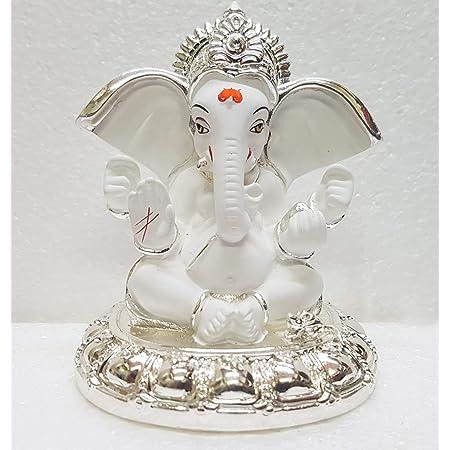 Gold Art India Ceramic Lord Ganesh Idol, 8x7x7 cm, Silver