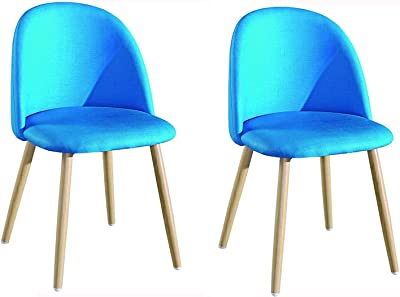 FETYDSE Dining Chairs Set of 2 Modern Fabric Upholstered Dining Chair Wooden Leg Backrest Chair for Living Room Dining Hall Balcony Office Kitchen (Color : Blue)