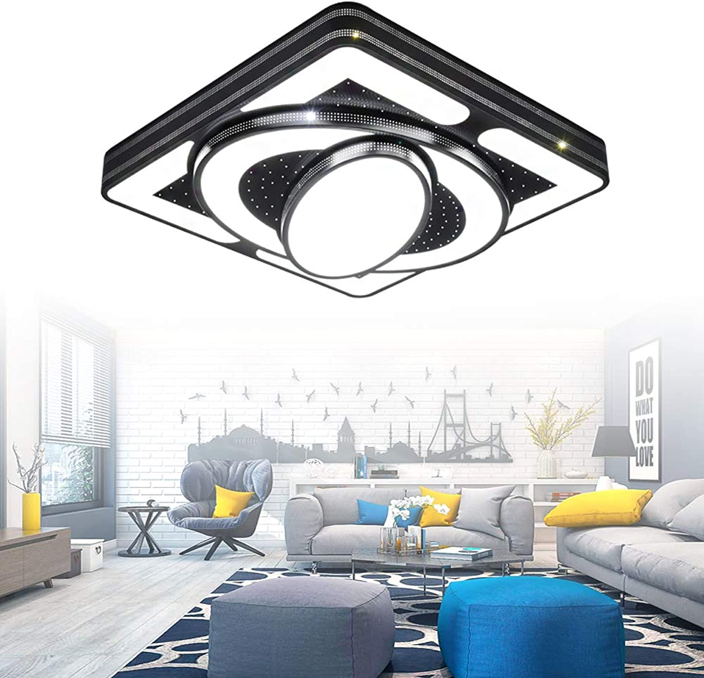 LeMeiZhiJia 54W Schwarz Kinderzimmer Beleuchtung Raumfahrzeug Modellierung - Mdchen Junge Studie LED Deckenleuchte - für Club Kinder Schlafzimmer Esszimmer Wohnzimmer(54W, Kaltwei)
