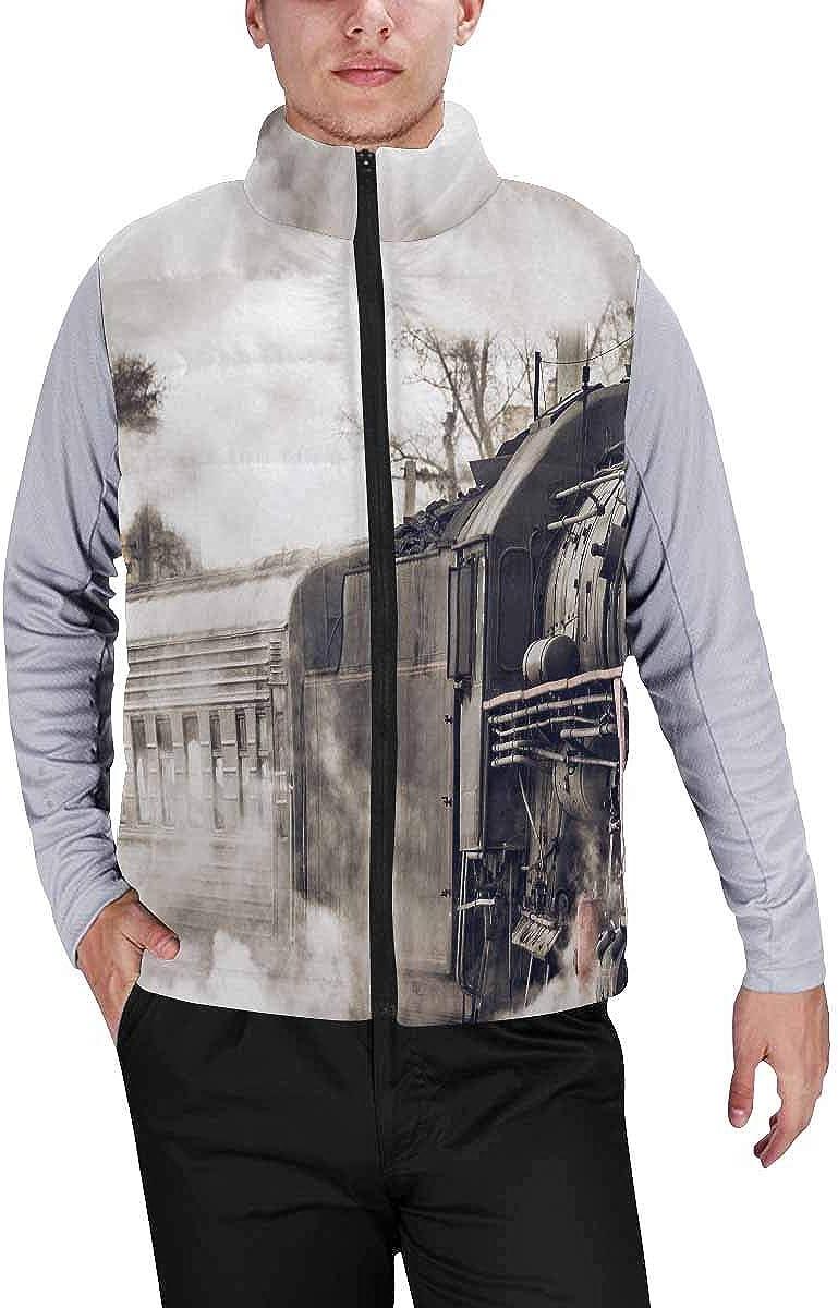 InterestPrint Winter Lightweight Personality Design Padded Vest for Men Repeating Star