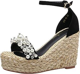 Aniywn Women`s Peep Toe Wedges Platforms Wedding Dress Shoes Ankle Buckles Pearl Crystal Sandals