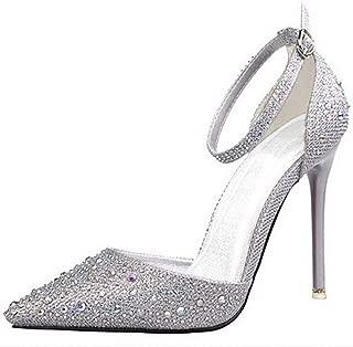 Msanlixian Summer New Shoes Woman Sandals Crystal Shinny High Heels Sandals Sweet