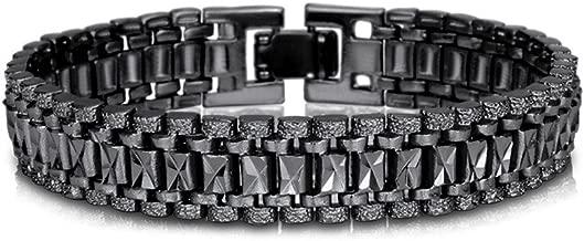 mens black link bracelet