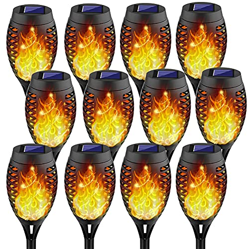 Kurifier 12Pack Solar Torch Light with Flickering Flame, Solar Lights Outdoor Decorative, Landscape Romantic Festive Waterproof Mini Torch Light for Garden Yard Patio Pathway-Dusk to Dawn Auto On/Off