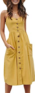 YAMTHR Womens Summer Floral Spaghetti Strap Button Down Swing Midi Dress with Pockets