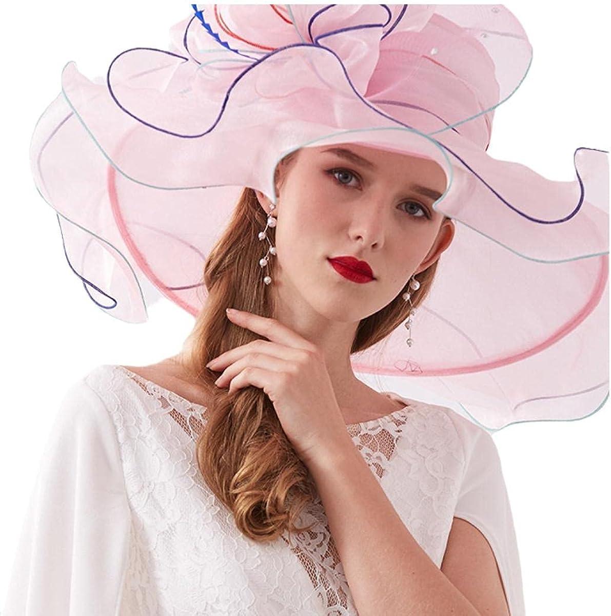 Womens Kentucky Derby Church Hat Organza Flower Wide Brim Fascinators for Women Tea Party,Fascinator Dress Cap