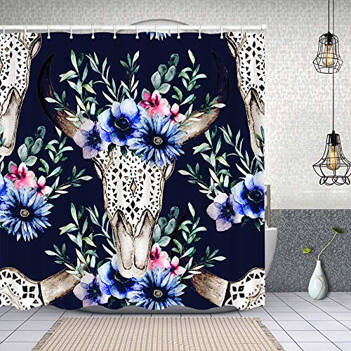Blived Waterproof Shower Curtain,watercolor bulls head flowers herbal seamless,Washable Fabric Bathroom Decor Set with Hook Bath Curtain 180x180cm