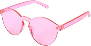 Nrpfell New Sunglasses Women Shades Luxury Sun glasses Integrated Rimless Eyewear Candy Color UV400 S17058 Pink