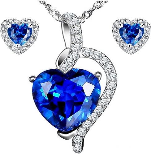 MABELLA 925 Sterling Silver Heart Pendant Necklace Stud Earrings Jewelry Set for Women
