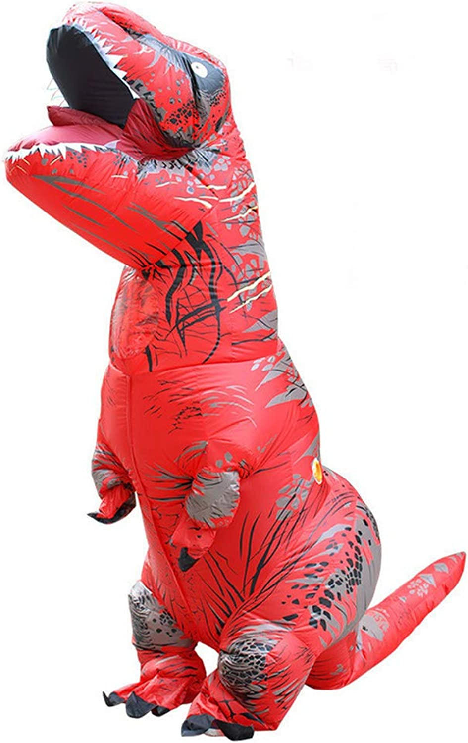Halloween Inflatable Dinosaur Costume Tyrannosaurus Anime Performance Cosplay Costume for Adult(Red)