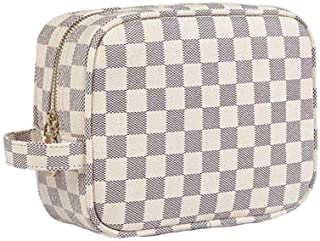 Cosmetic Bag Waterproof PU Leather Travel Make Up Bag Luxury Checkered Multifunction Makeup Pouch Toiletry Bag Organizer for Women Beige