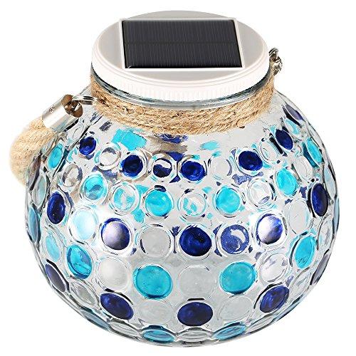 Lampara Solar Diamante GRDE Jarron Decorativo Con Mosaico Colorido, Lampara de Mesita Nocturna Para Salon, Jardin, Habitacion, Terraza, Comedor, Etc. (Azul)