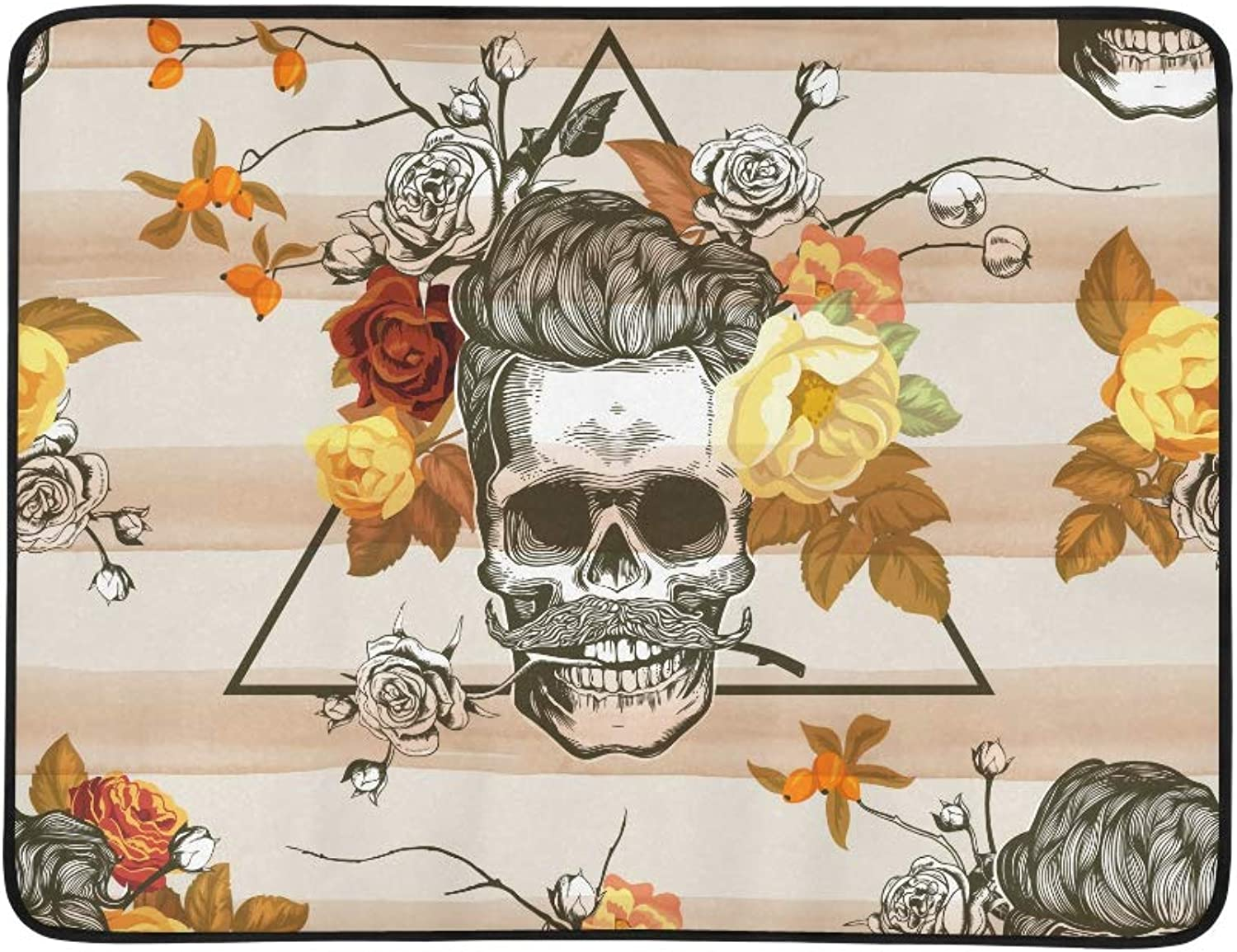 Day of The Dead Skull Vogue Pattern Portable and Foldable Blanket Mat 60x78 Inch Handy Mat for Camping Picnic Beach Indoor Outdoor Travel