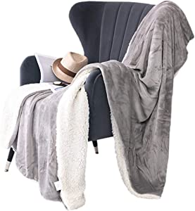 Picturesque Sherpa Flannel Throw Bed Blanket Grey