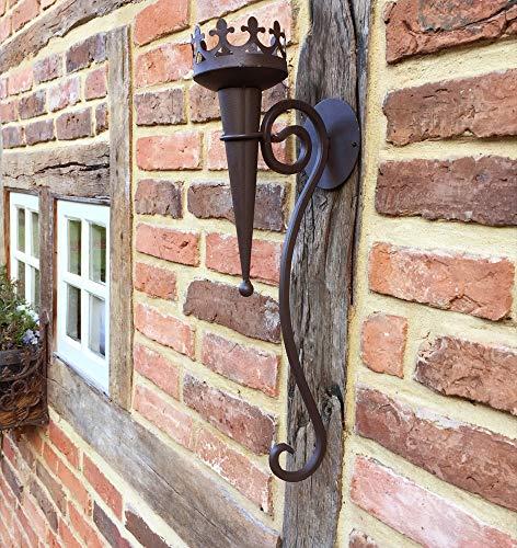 Wandkerzenhalter in Antik Optik aus Metall | 50 cm x 9 cm | Mittelalterliche Fackel | Wandfackel rustikal | historische Burgfackel von Antikas