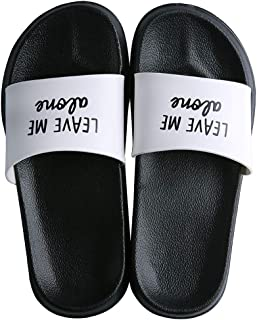 ALOTUS Fashion Word Slides for Unisex Classics Cool Anti-Slip Casual Women Slide Sandals for Summer Men Flat Slip-On Comfortable Boys Slipper Shoes Plus Size