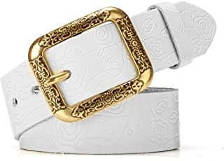 Ladies Waist Belt Carved Flower Design Vintage Genuine Cowhide Leather with Alloy Buckle for Jeans (Color : White, Size : Free Size)