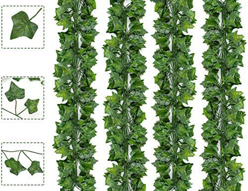 Boic Plantas Hiedra Artificial Decoración Exterior Colgante 84ft-24 Guirnalda Hiedra Artificial Vine Follaje Hojas Verdes Flores para Hogar Boda Escalera Ventana Balcón Valla Jardín Mesa Fiesta