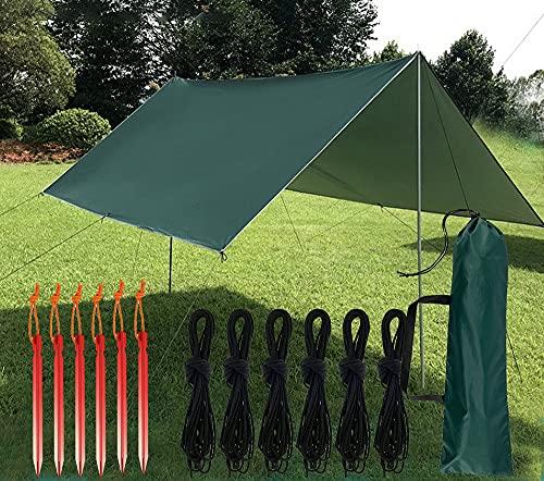 Zeltplane Wasserdicht mit Ösen, Camping Hammock Plane UV-Schutz, Campingzelt-Plane Tent Tarp mit 6 Seilen, 6 Heringe Zelt und Tragetasche Ultra-Leicht Regenschutz...