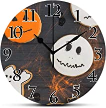 BCWAYGOD Silent Wall Clock-Funny Gingerbread with Cobweb Funny Desk Clock Round Unique Decorative for Home Bedroom Office 9in