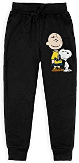 Charlie Brown Snoopy Casual Sweat Pants Cotton Long Sweatpants with Pockets for Teenager Boys Girls Black