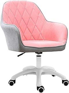 Silla de Escritorio de Oficina Silla de oficina en casa, ergonómica, con respaldo medio, silla de escritorio para computadora, silla giratoria de altura ajustable con brazos y 5 ruedas (rosa + gris