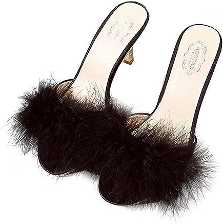 efb7c24d864 FreLO Women s Plush Kitten Heels Flurry Slippers Fuzzy Slippers White