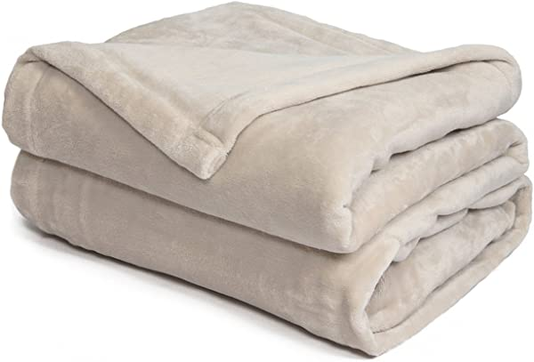 Effortless Bedding Standard Size Plush Semi Fitted Bed Blanket Sand Shell California King