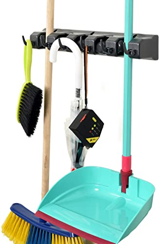 Alpine Industries Mop and Broom Holder 5 Slots 6 Hooks – Durable, Wall Mounted Cleaning Tools Rack Hanger for Home Ki...