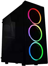 Raidmax NEON Gaming Computer Case See-Through Front and Side Panel with 3 Front Fans Pre-Installed