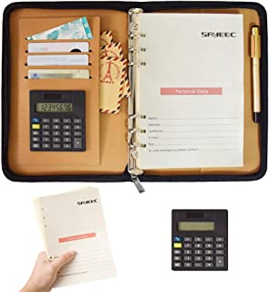 SAYEEC A5 Refillable Journal Binder PU Leather Business Notebook Portfolio Padfolio with Calculator 6 Ring Loose Leaf Trav...