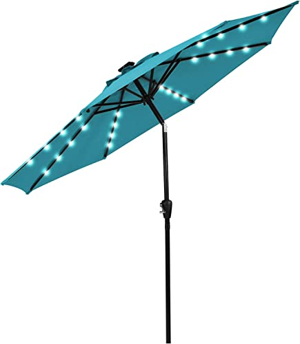lowest Giantex 9ft Solar 2021 Patio Umbrella, 32 LED Lighted Patio Umbrella high quality w/Tilt and Crank, 8 Sturdy Ribs & Reinforced Metal Pole, Outdoor Table Market Umbrella for Backyard Garden Pool Beach (Turquoise) online sale