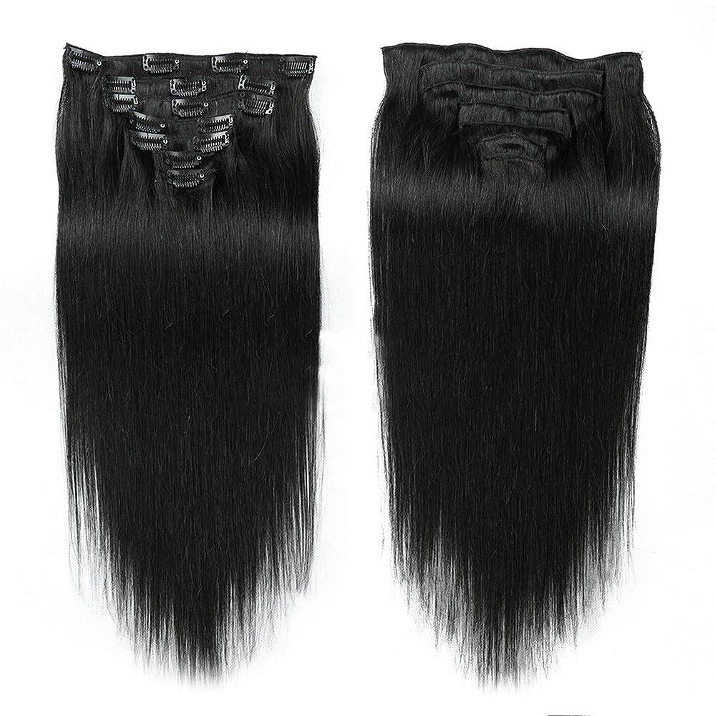 半円博物館脅かすHOHYLLYA 14インチ7ピースクリップ人間の髪の拡張子 - #1Bナチュラルブラックカラーストレートヘアピースロールプレイングかつら女性の自然なかつら (色 : #1B Natural Black)