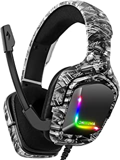 Audífonos Gamer Auriculares para juegos para PS5, PS4 Auriculares con micrófono, sonido envolvente estéreo con micrófono con cancelación de ruido y control de volumen y silencio, auriculares ergonómicos ligeros y RGB geniales para Xbox One, Switch, PC K20 Blanco Camuflaje