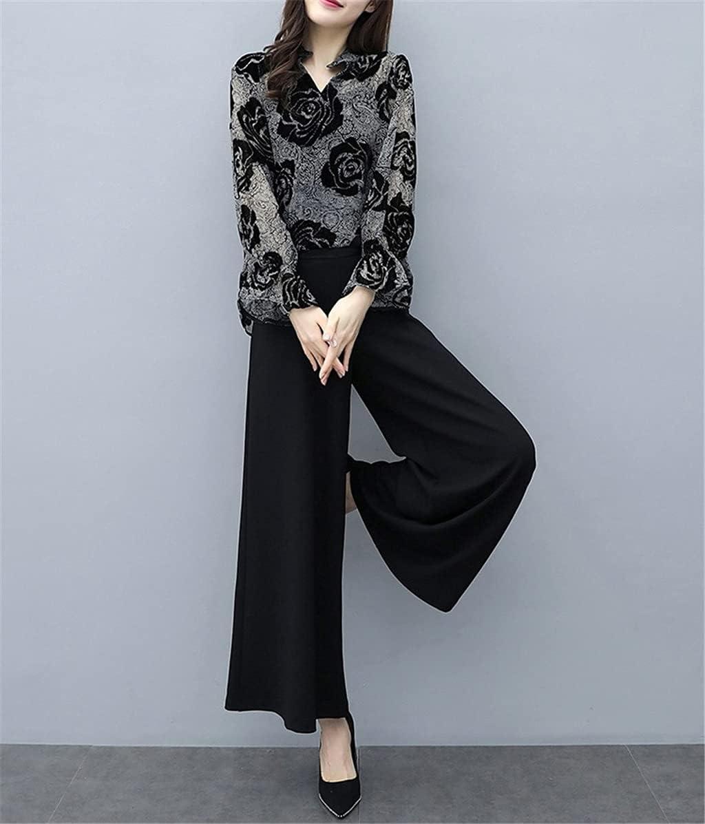 JJZXC Womens Summer 2 Piece Sets Floral Print Flare Sleeve Long Top + Plus Size Black Pants Suit Elegant Women Vintage Sets (Color : Black, Size : M Code)