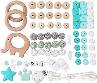 Dummy-Kette machen Ihre eigenen Silikon Buchstaben 12mm Mix 52pcs Kinderkrankheiten Perlen Kit personalisierte Name Baby Kinderkrankheiten Schnuller Clips DIY Bulk Set custom, 52pack