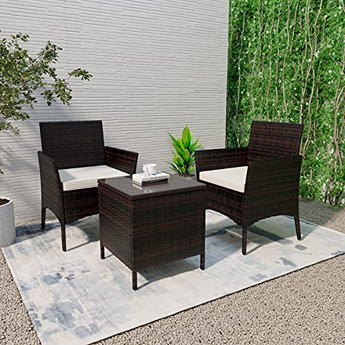 Rattan Garden Furniture Set 2 Seater, Brown Wicker Coffee Table and Chairs with Cushions, 3 PCS Indoor Outdoor Corner Dining Set for Patio, Conservatory
