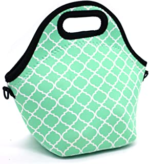Orchidtent Neoprene Water Resistant Portable Lunch Bag Carry Case Tote with Zipper Strap Box Cooler Container Bags Picnic Outdoor Travel Fashionable Handbag Pouch for Women Men Kids Girls ,Light Green