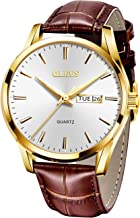 OLEVS Men's Alloy Quartz Watches Analog Week Date Business Casual Wristwatch Waterproof 30M Dial Brown Genuine Leather 3ATM Simple Classic YPF