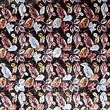 Fabulous Fabrics Pannesamt Herbstblätter – schwarz —