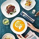 MALACASA, Serie Elisa, 48 TLG. Porzellan Tafelservice Kombiservice Geschirrset, 12 Dessertteller, 12 Suppenteller, 12 Flachteller und 12 MüsliSchäle für 12 Personen - 5