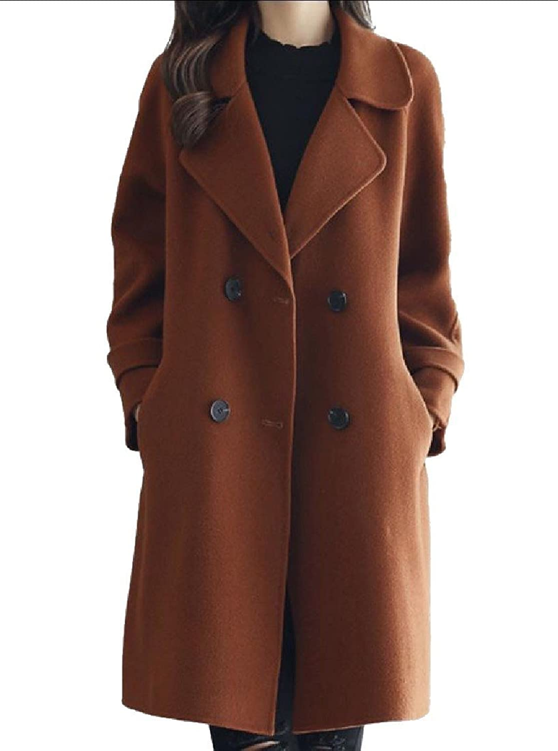 Abetteric Women Doublebreasted Mulit color Stylish Lapel Allmatch Peacoat