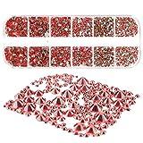 Mwoot 2000+ Piezas Cristal de Espalda,6 Tamaños (2-5 mm) Diamantes de imitación con pinzas y Picking Pen para manualidades de bricolaje Nail Face Art Clothes(Rojo)