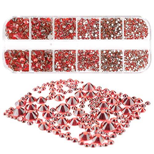 Mwoot 2000 Stück Steinchen, Glitzersteine in 6 Größe (2-5mm), Strassstein Set mit Pinzette und Picking Stift für Nageldesign Rot