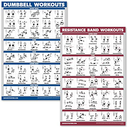 """QuickFit Dumbbell Workouts and Resistance Bands Exercise Poster Set - Laminated 2 Chart Set - Dumbbell Exercise Routine & Resistance Tubes Workouts (18"""" x 27"""")"""