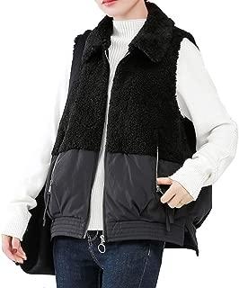 Women's Casual Vest, Lapel Lightweight Sleeveless Zip Up Fleece Fuzzy Gilet with Pockets (Color : Black, Size : L)